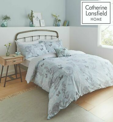 £22.99 • Buy Catherine Lansfield Floral Butterfly Easy Care Duvet Cover Bedding Set Duck Egg
