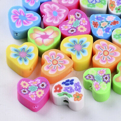£2.80 • Buy Handmade Polymer Clay Beads, Heart Shape Mixed Colours Pack Of 25