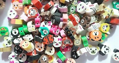 £2.80 • Buy Handmade Polymer Clay Beads, Mixed Animal Faces Pack Of 25