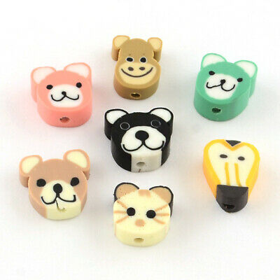 £2.80 • Buy  Polymer Clay Mixed Colours Animal Heads  Beads For Jewellery Making Pack Of 25