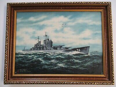 $525 • Buy Old Post Ww2 World War Two Painting Military War Ship Jets Navy Seascape Japan