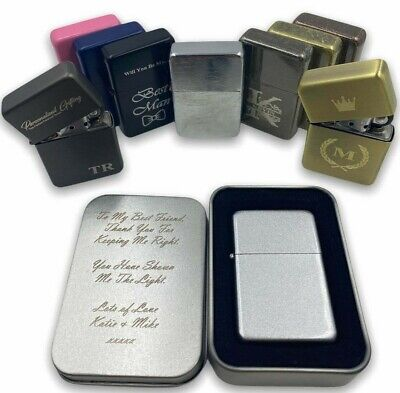 £7 • Buy Personalised Engraved Lighter Any Logo Any Text Metal Flip Refillable & Gift Tin