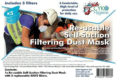 £8.99 • Buy Half Face Dust Mask Respirator Reusable Anti-Dust With 5 Filters CE Approved