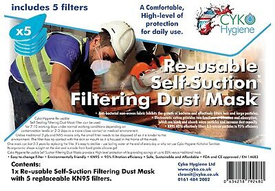 £8.99 • Buy Half Face Covering Dust Mask Respirator Reusable Anti-Dust 5 Filters CE Approved