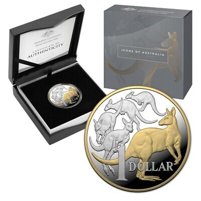 AU699 • Buy 2020 $1 Mob Of Roos MOR 5oz Selectively Gold Plated Silver Proof Coin ONLY 1000!