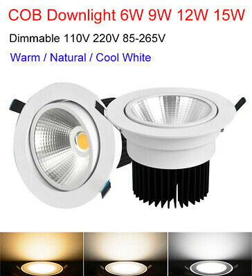 AU7.99 • Buy Dimmable 6W 9W 12W 15W COB Downlight Ceiling Panel Lighting Lamp Bulb Recessed