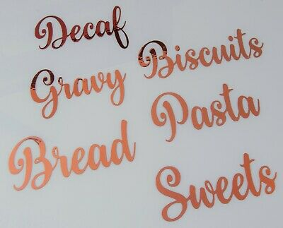 £2.25 • Buy Rose Gold Kitchen Labels For Glass Jars Tins Canisters Storage Decals Stickers