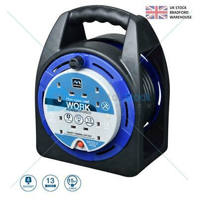 £24.97 • Buy Masterplug Heavy Duty 13A Electrical 15m 4 Gang Socket Main Cable Extension Reel
