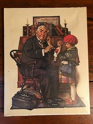 """$ CDN6.28 • Buy NORMAN ROCKWELL Print On Canvas """"THE DOCTOR AND THE DOLL"""" 14  X 11  1972"""