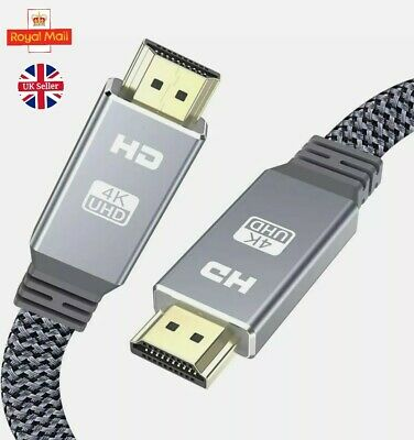 4K HDMI To HDMI Nylon Flat Ultra High Speed 18Gbps 4K 1080 UHD 2160p Cable 2.0 • 3.99£