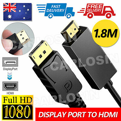 AU6.95 • Buy Display Port Displayport DP To HDMI Cable Male To Male Full HD High Speed 1.8M
