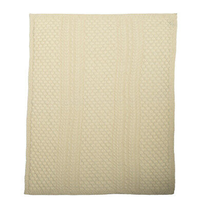 £62.99 • Buy Cable/Honeycomb Knit Merino Wool Blanket/Throw By Aran Mills - Cream