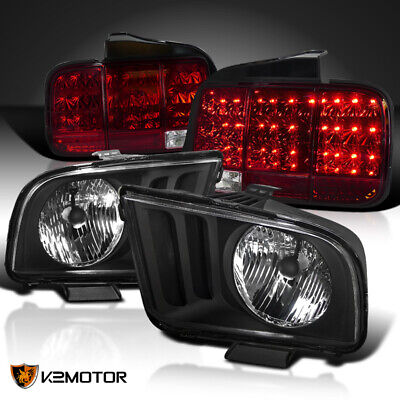 $261.02 • Buy For 2005-2009 Ford Mustang Black Headlights+Red Sequential LED Tail Lights Lamps