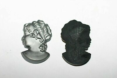 £3.60 • Buy #37 12 Pc  30x18 Grey Cameo Head To Mount On Flat Surface Cabochons Vintage Glas