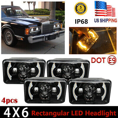 $107.28 • Buy 4X 4x6  LED Headlights High-Low Sealed DRL Angel Eyes For Chevrolet Camaro 82-92