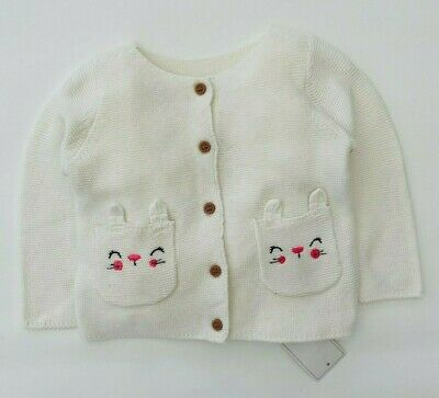 Mothercare Girls Baby Cardigan Cute Knitted Cotton Cream Bunny Rabbit Pocket NEW • 8.99£
