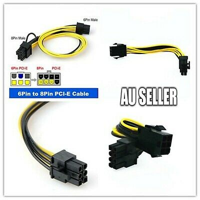 AU4.99 • Buy 6 Pin To 8 Pin PCI Express Power Converter Cable For GPU Video Card PCIE Nvidia