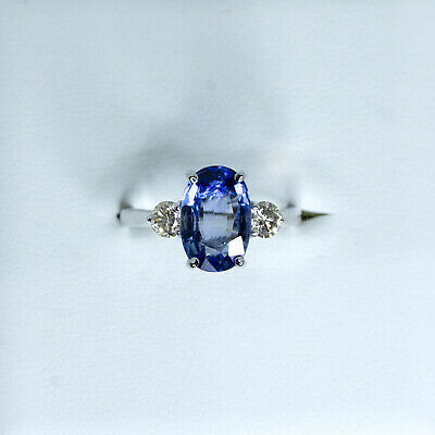 AU2600 • Buy Three Stone Natural Sapphire Ring In 18K White Gold
