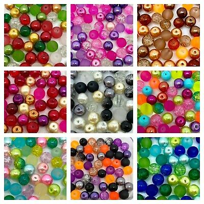 £2.25 • Buy Glass Beads Mix - Mixed Pearls, Crackle, Frosted - Choose Size 4, 6, 8 Or 10mm