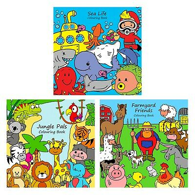 £8.99 • Buy 3 X Childrens Animal Colouring Books - For Boys Girls - Kids Colouring Book Sets