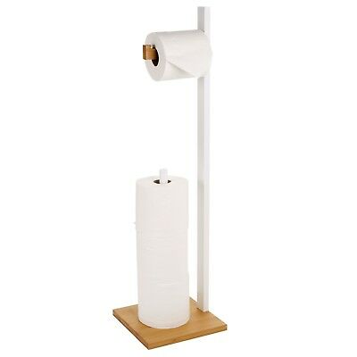 AU32.60 • Buy Free Standing Wooden Toilet Paper Roll Holder Tissue Dispenser Storage Stand NEW