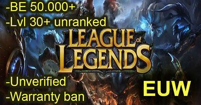 £2.46 • Buy League Of Legends Account EUW LOL Lvl+30 BE+50K ✅ Unverified ✅ Unranked