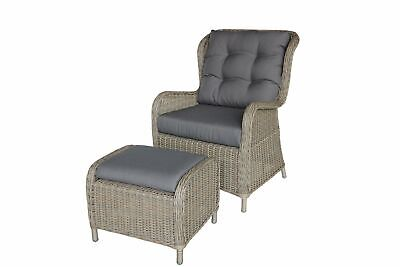 AU498 • Buy Outdoor Wicker Poly Rattan Lounge Garden Armchair With Footstool Ottoman