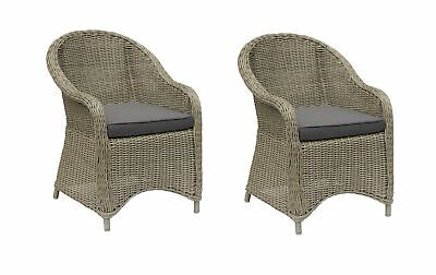AU469.80 • Buy 2 X Outdoor Wicker Poly Rattan Dining Chair Armchair - Natural Brown