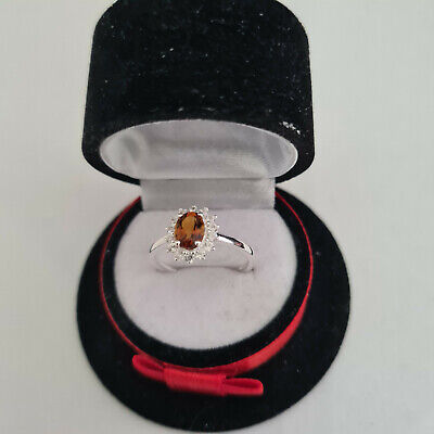 £16.99 • Buy Stunning AA Madeira Citrine & Zircon Halo Ring In Sterling Silver