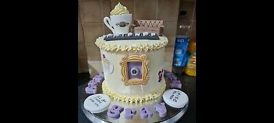 Friends Cup Sofa Picture Frame & Plaque, Cake Topper Edible Fondant Handmade • 15£
