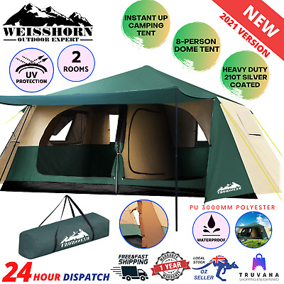 AU292.70 • Buy Weisshorn Instant Up Camping Tent 8 Person Pop Up Tents Family Hiking Dome Camp
