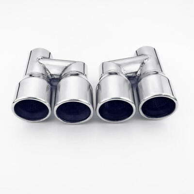 $ CDN159.09 • Buy Polished Stainless Steel Exhaust Tips 2-1/4  In Quad 3  Out Resonated Staggered