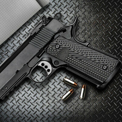 $25.99 • Buy 1911 G10 Grips Full Size Magwell Ambi Safety Mag Release Grey Black H1M-JVM-5