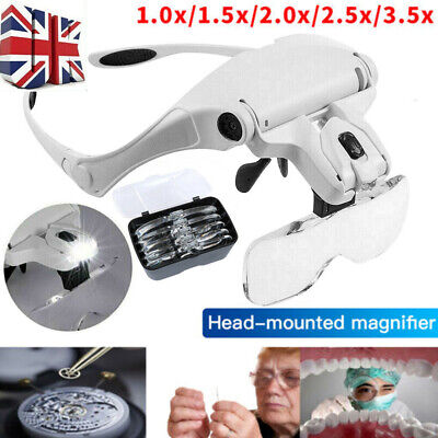 £10.19 • Buy Headband Jeweler Magnifier Head-Mounted Magnifying Glass With LED Light + 5 Lens