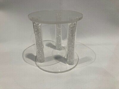 Crystal Filled Clear Cake Separator Topper Stand 3 Pillar 120mm Diameter • 10.50£