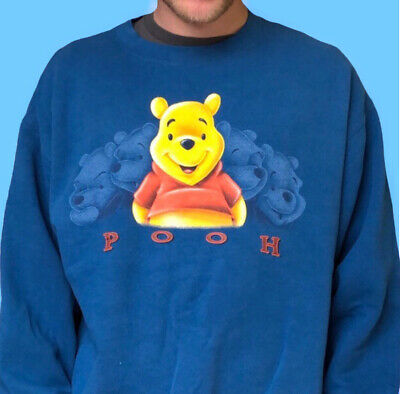 £27 • Buy Disney Store Official Winnie The Pooh Bear Spellout Jumper / Sweater In Blue.