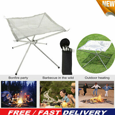 £14.35 • Buy Folding Mesh Fire Pit Portable Fire Pit Bonfire Stand Outdoor Camping Patio UK