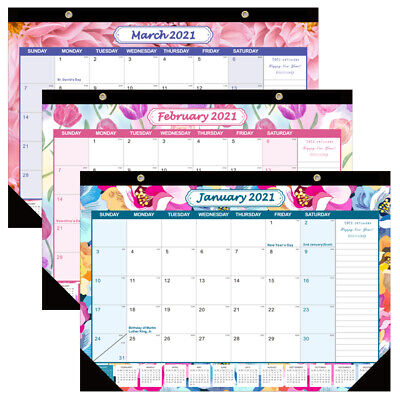 £9.99 • Buy 2021 Calendar 12-Month Floral Design Monthly Planner Daily Desk Pad Calendars
