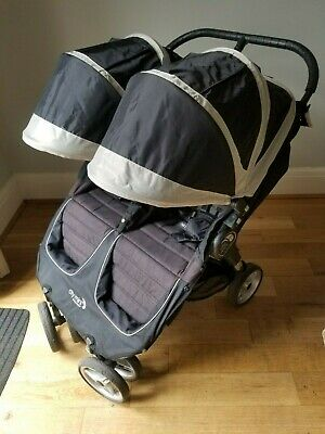 £100 • Buy Baby Jogger - City Mini - Black Double Buggy With Foot Muffs And Organiser