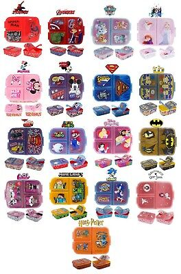 £10.99 • Buy Latest 2021 Design School Kids Character Sandwich Lunch Snack Box-3 Compartment