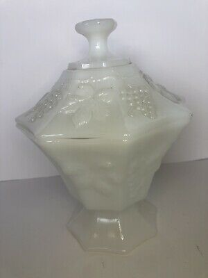 $10 • Buy Milk Glass Compote With Fruits On The Lid.