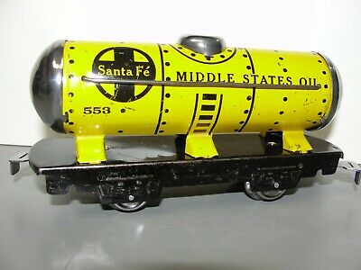 $40 • Buy Marx Train 553 Sf Middle States Oil Yellow Tank Car Built-1936 Excellant   [652]