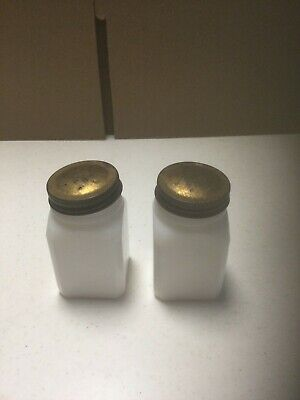 $11.99 • Buy Vintage Square White Milk Glass Salt And Pepper Shakers Made In USA