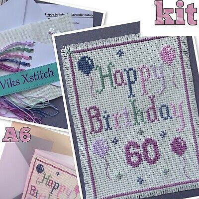 £7.50 • Buy Cross Stitch Kit Happy Birthday Card 60th Incl. Card A6