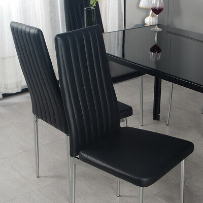 £126.50 • Buy 6PCS Modern Black Dining Chairs Chrome Legs High Back Padded Seat Home Furniture