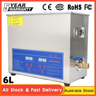 AU140.89 • Buy 6L Ultrasonic Cleaner Stainless Steel Ultra Sonic Bath Heater Tank With Timer