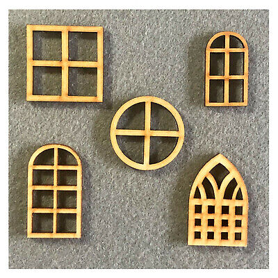 £3.45 • Buy Dolls House Window & Doors - MDF Craft Shapes - Wooden Home Tags Embellishments