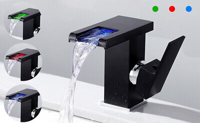 £34.39 • Buy LED RGB Bathroom Taps Basin Sink Mixer Tap Single Lever Brass Waterfall Faucet*