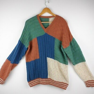 Hand Knitted Oversized Unisex Colour Block Jumper Size Large Festival Slouchy  • 15£