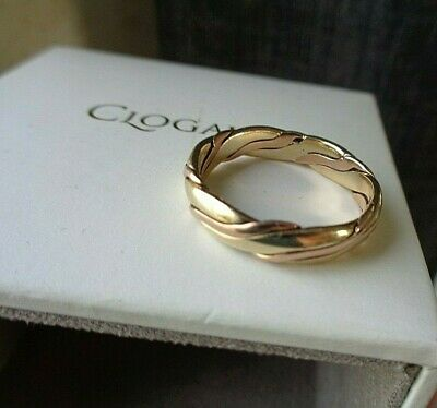 £318 • Buy Attractive Clogau Welsh 9ct Rose & Yellow Gold Celtic Weave Ring H/m 1997 Size Q